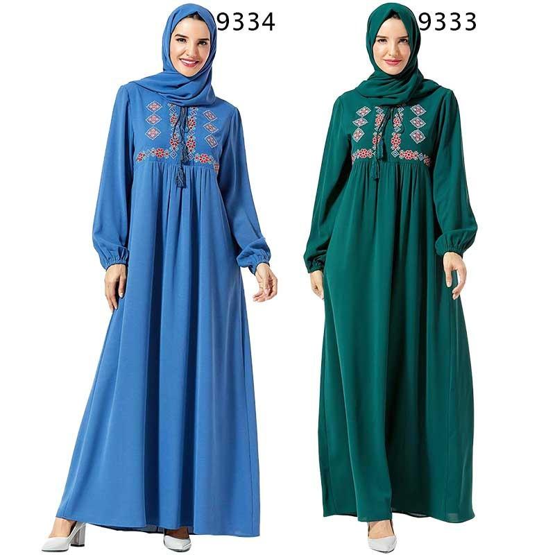 Casual Maxi Dress Muslim Embroidery Abaya Hijab Long Robe Gowns Vestidos Kimono Middle East Eid Ramadan Arab Islamic Caftan Baju