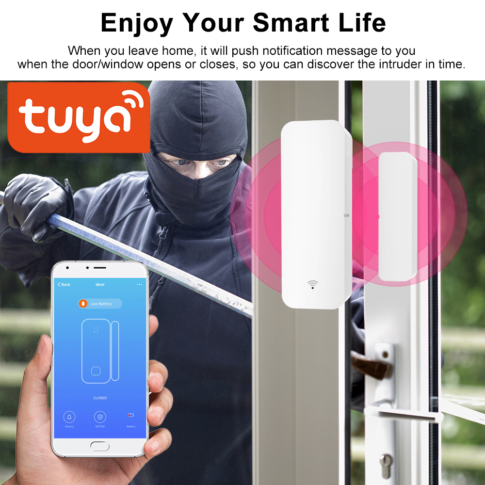 Tuya Smart WiFi Door Sensor Door Open   Closed Detectors Compatible With Alexa Google Home  Powered Smart Life APP Control