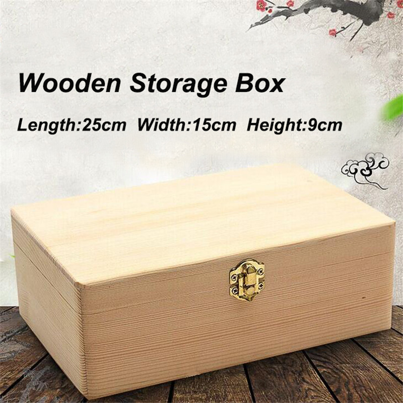 Home Storage Box Natural Wooden with Lid Golden Lock Postcard Organizer Handmade Craft Jewelry Case Wooden Box Casket Home