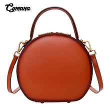 Luxury Brand Genuine Leather Women Messenger Bags 2019 Circular Mini Tote Handbag Shoulder Bag Cow Leather Female Crossbody Bag new brand women handbag top natural cowhide women messenger bags luxury genuine leather shoulder bag fashion female tote bag
