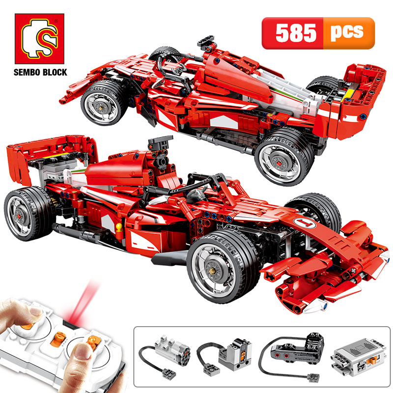 2020 NEW SEMBO Block 585PCS City Remote Control Bricks Technic RC F1 Equation Racing Car Building Blocks Toys For Kids