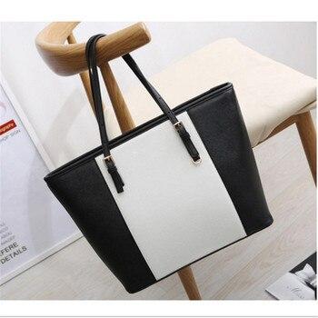 Bag  Fashion Women Leather Handbag Brief Shoulder Bags Black White Large Capacity Luxury Handbags Tote Bags Design Bolsos цена 2017