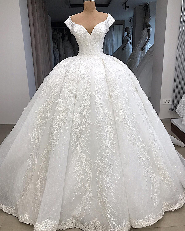 Vintage Beading Applique Lace Draped Ball Gown Cap Sleeve Wedding Dress 2019 Sweetheart Neck Dress Wedding Vestido De Novia