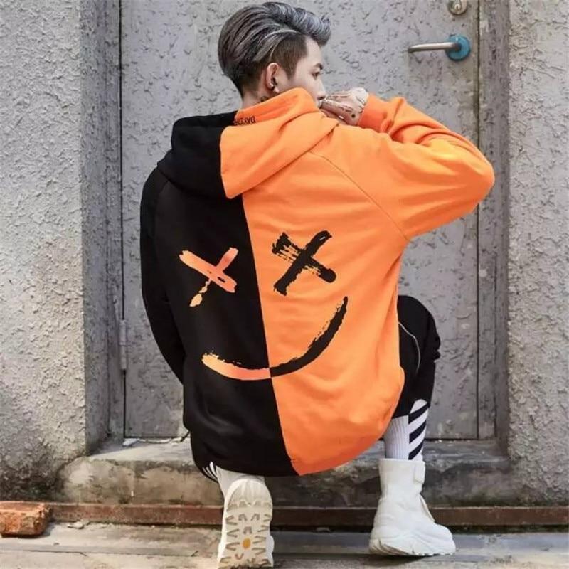 Cool 2019 Korean Men Hoodies Japanese Man Casual Autumn Sweatshirts Patchwork Hip Hop Hoodie Streetwear Smiles Print Hoodie Male