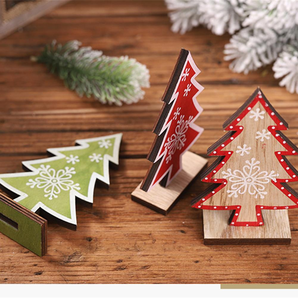 Wooden Printed Christmas Tree Table Decoration Christmas Wedding Ornament Party Supplies in Pendant Drop Ornaments from Home Garden