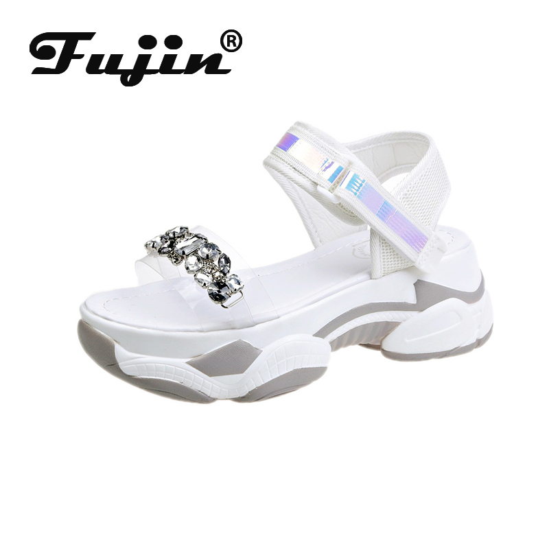 Fujin Women Summer 2020 Sandals Platform Fashion Flat Bottom Women's Med Heels Breathable Hook Loop Causal Women Sandals