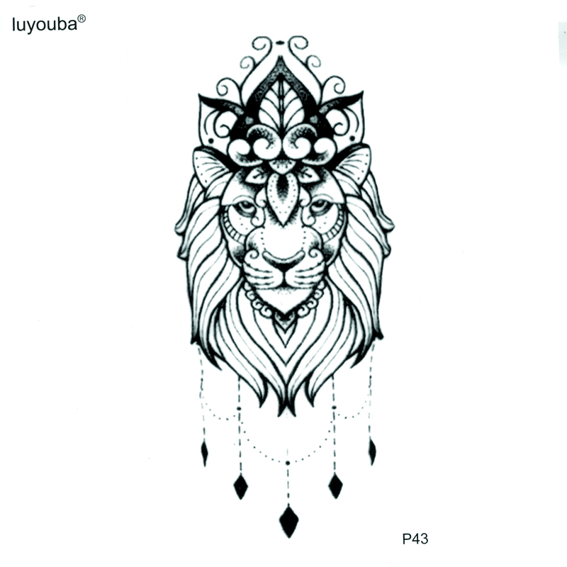 The King Of Lion Totem Temporary Tattoo Body Arts Stickers Flash Tattoo Tatoos  Animals Tatuajes Temporales Henna Tattoo