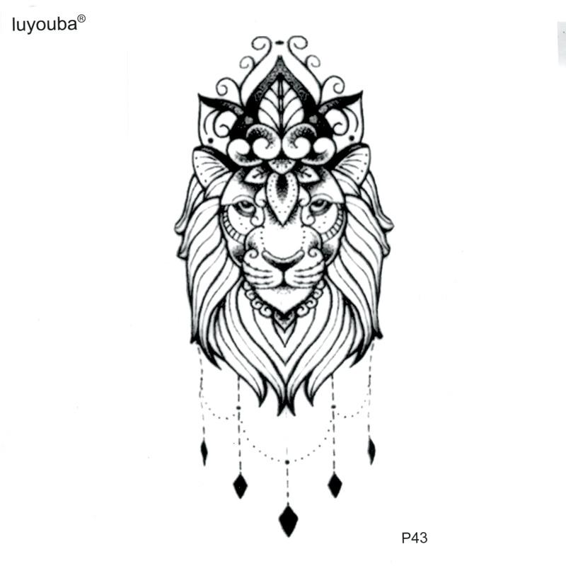 The King Of Lion Totem Temporary Tattoo Body Arts Stickers Flash Tattoo Tatoos  Animals Tatuajes Temporales Henna Tattoo