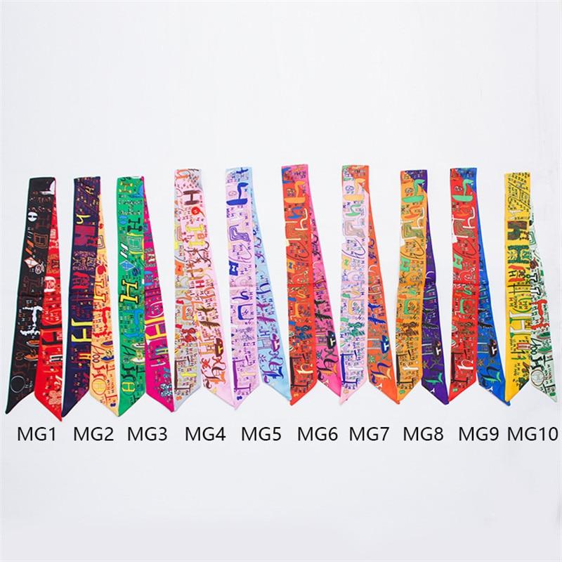Classic Dgital Printing Bag Scarf Silk Scarf Women Small Bag Ribbon Fashion H Letter Female Hair Ribbons  Handbag Scarves B005