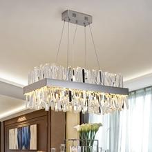 מודרני תליית נברשת לסלון יוקרה מלבן מטבח אי קריסטל מנורות כרום led נברשות חדר אוכל