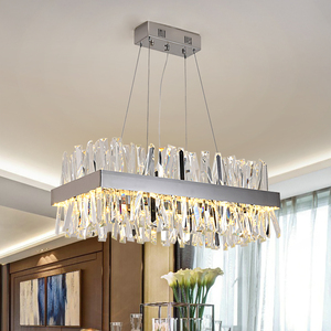 Image 1 - Luxury rectangle crystal chandelier lighting for dining room kitchen island lamps hanging modern chrome led chandeliers