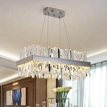 Modern asılı avize oturma odası için lüks dikdörtgen mutfak ada kristal lambalar krom led avizeler yemek odası