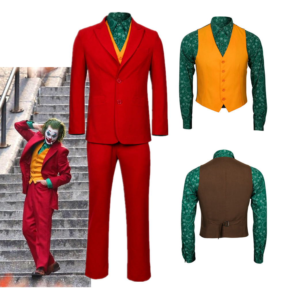 2019 Joker Origin Movie Cosplay Joaquin Phoenix Arthur Fleck Costume Batman The Joker Uniform Red Suit Halloween Men Outfit