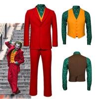 2019 Joker Origin Movie Cosplay Joaquin Phoenix Arthur Fleck Costume Batman The Joker Uniform Red Suit Halloween Men Outfit