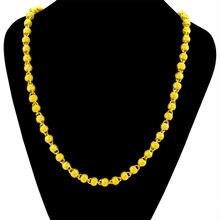 Полое бусины ожерелье цепочка Желтое золото Заполненные хип