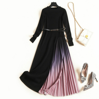 Plus 2020 Winter Size Fashion Gradient Purple Color Long Sleeves Thickening Chiffon Stitching Knitting Pleated Maxi Dress Women