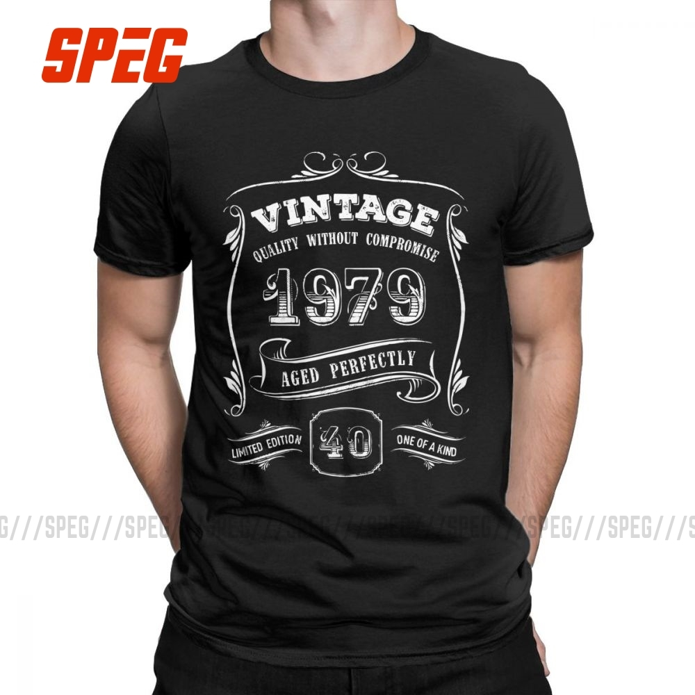 Men's T Shirt Gold <font><b>Vintage</b></font> <font><b>1979</b></font> Age Perfect Stylish Short Sleeved 40th Birthday Gift Tees Crewneck Clothes Cotton Design T-Shirt image