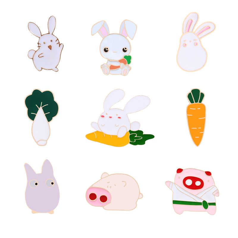 Pins brooches Rabbit pig cabbage couple brooch enamel pin Badges Hat Backpack Accessories Lovers jewelry Gift for women lover