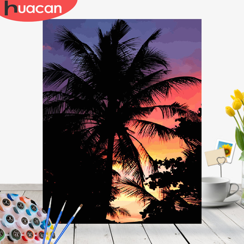 HUACAN Picture By Numbers Landscape Painting Kits Drawing Canvas HandPainted Summer Home Decoration Art Gift