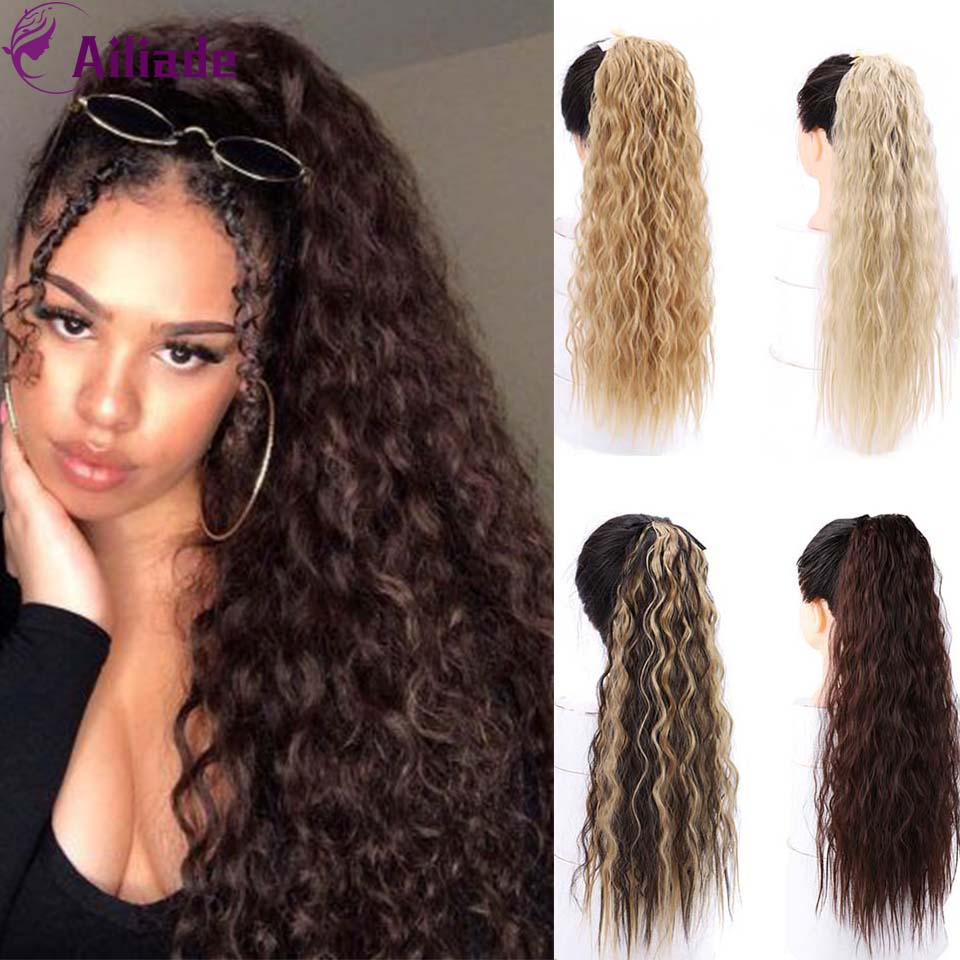 AILIADE 22 Inch Long Curly Synthetic Ponytail Extension Clip-in Pony Tail For Women Daily/Party Black Brown Golden Red