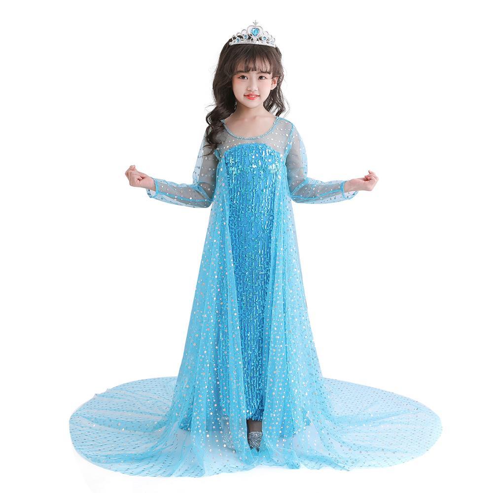 New Elsa dress long sleeve girl costume snow queen party dress Anna girls clothes vestidos infantis Congelados disfraz princesa 1