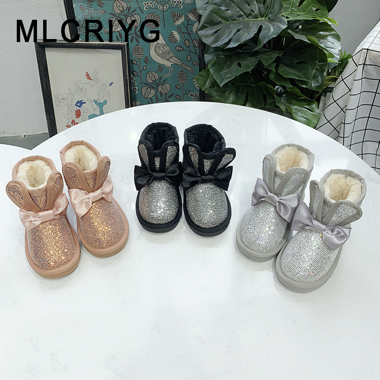 Winter Kids Snow Boots Baby Girls Bow Ankle Boots Toddler Glitter Brand Boots Children Genuine Leather Shoes Black Soft Boots