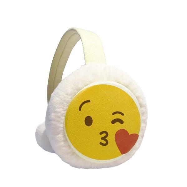 Love You Yellow Cute Online Chat Happy Winter Earmuffs Ear Warmers Faux Fur Foldable Plush Outdoor Gift
