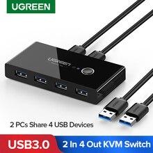 Ugreen KVM переключатель USB 3,0 2,0 USB Переключатель Селектор 2 порта ПК обмен 4 устройства для клавиатуры мышь Сканер Принтер Kvm переключатель