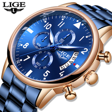 LIGE Blue Mens Watches with Stainless Steel Top Brand Luxury Men Sports