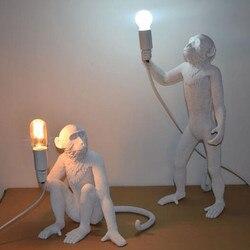 modern Black White Gold Monkey Lamp Pendant Lights Art Parlor hanging lamp for Study Room Led Lights lustre With E27 Led Bulb