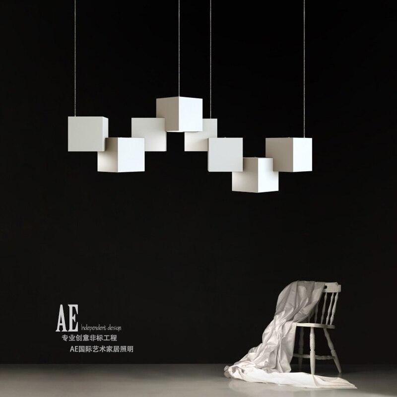 Современный минималистский куб Led Chandelie Скандинавская гостиная столовая Бар черный/белый глянцевый светильник спальня кабинет украшение