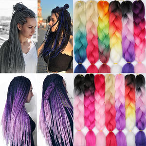 MERISIHAIR Hair-Extensions Jumbo Braids Crochet Blonde Grey Pink Blue Synthetic Ombre
