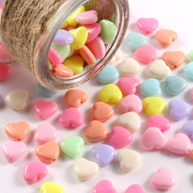 100pcs/lot Mixed Acrylic Beads Heart Stars Loose Spacer Beads for Needlework Jewelry Making Handmade Diy Bracelet Accessories 3