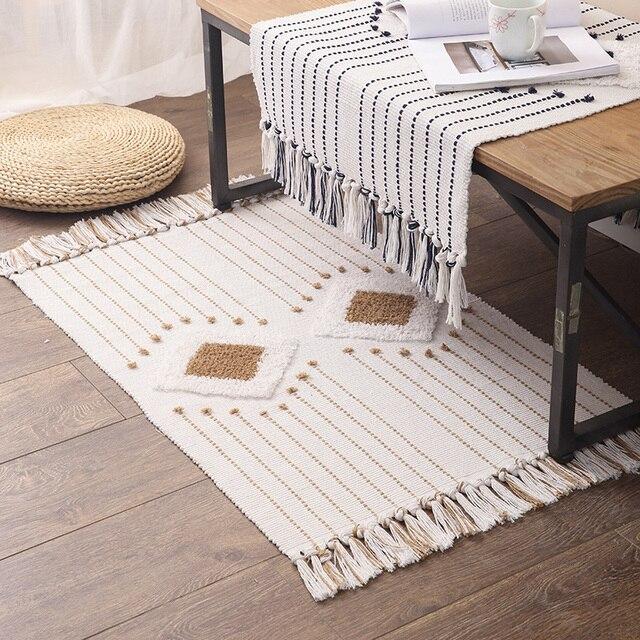 Tapis de touffage en coton Chic nordique soigné géométrique tapis salon lit côté décoration tapis de sol tapis de porte tapis hôtel décor à la maison