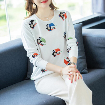 European American style cartoon Bird Print Women autumn winter Casual Office Knitted Pullover Slim fit Sweater Female Clothing фото