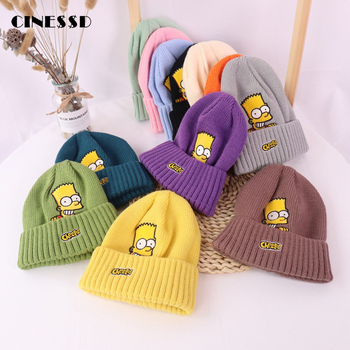 New Brand Embroidery Knitted Hat Women Winter Hat Innocent Cap Casual Caps Cartoon Cotton Cap Outdoor Warm Caps Fun Hat Beanie [head bee] brand beanies hat cotton adult cartoon ear winter cap warm lady knitted hat 2017 women bonnet hat