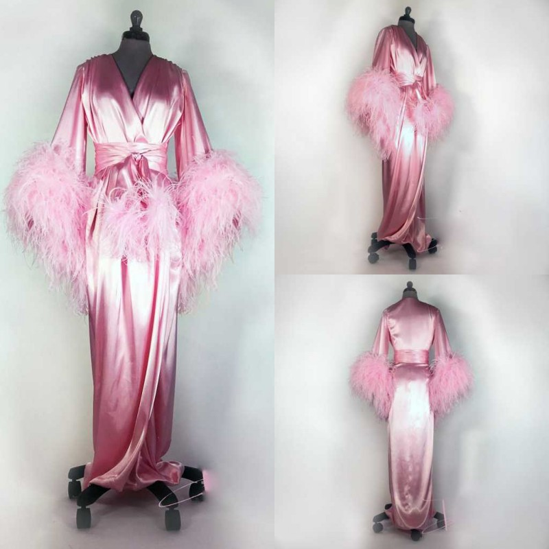 Bathrobe For Women Pink Feather Full Length Lingerie Nightgown Pajamas Sleepwear Women's Dressing Gowns Housecoat Nightwear