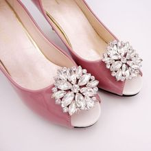 1Pair Luxury Crystal Shoe Clips Removable Rinestone Shoes Charms Shiny Buckles