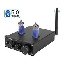 Amplificador de vácuo aiyima 6k4, pré amplificador e com bluetooth 5.0, ajuste de som para home theater