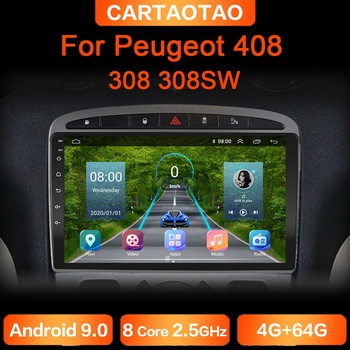 4G+64G Android 9.0 Car Radio GPS RDS DSP multimedia player for Peugeot 408 for Peugeot 308 308SW 2din android car player NO DVD