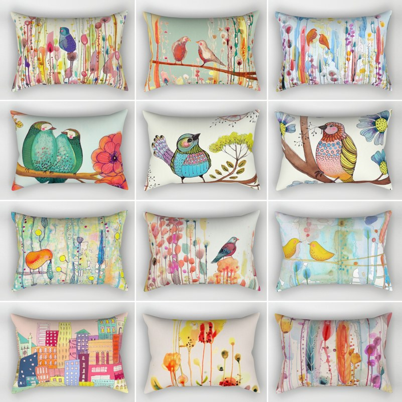 Short Plush Colorful Birds And Flowers <font><b>Cushion</b></font> <font><b>Cover</b></font> Sofa Decorative Pillow Pillowcase <font><b>30</b></font>*<font><b>50</b></font> Throw Pillow Home Decor Pillowcover image