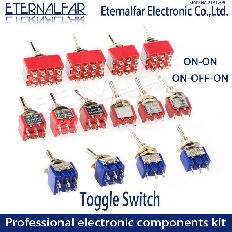 SPDT DPDT Reset Latching Toggle Switch MTS-102 5A 6A 125V  3A 250 AC Mini 3 6PIN ON-ON ON-OFF-ON Rocker Switches Lights Motors