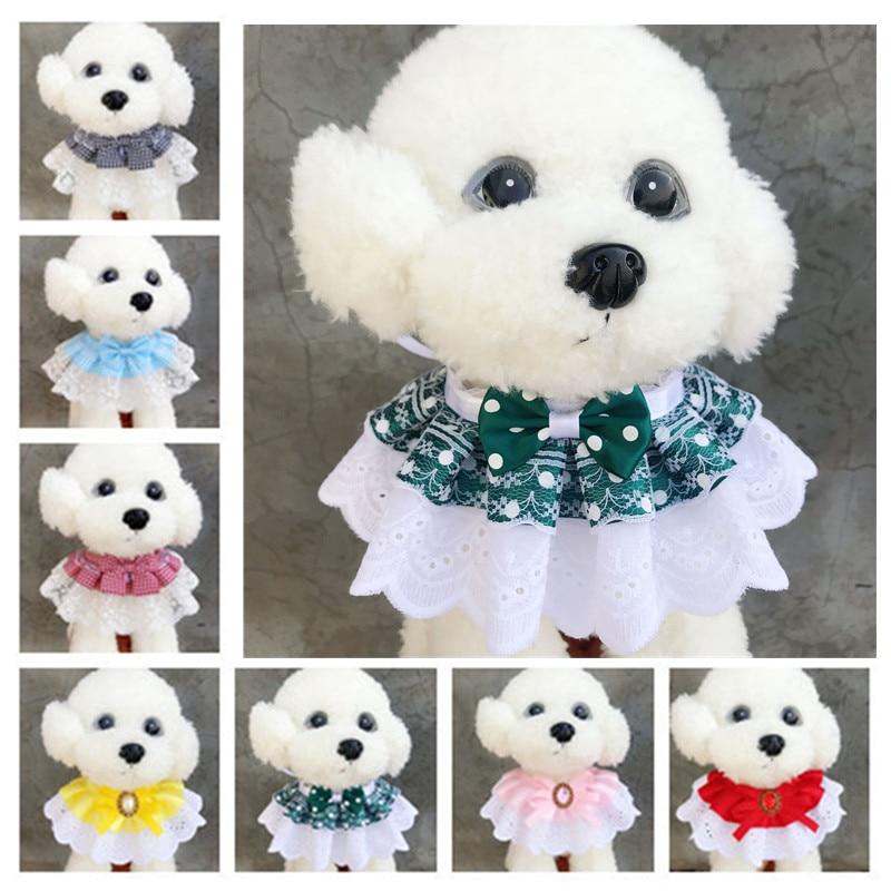 Pet Cat scarf lace bib dog bib saliva towel jewelry decorative kitten with lace bib scarf Pet Wreath Cat Headdress Accessories