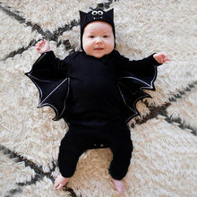 Halloween Newborn Baby clothing Toddler Baby Boys Girls Halloween Bat Cosplay Costume Long Sleeve Romper Hat Outfits Set 2019(China)