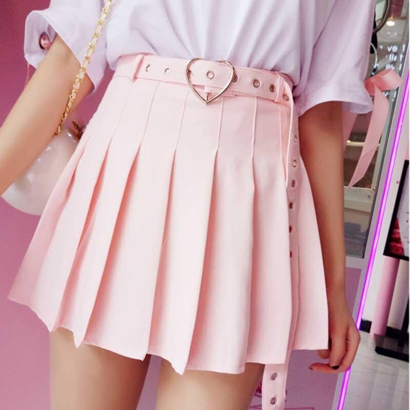 NiceMix Fashion Mini Skirt Women 2020 Autumn Winter High Waist Ladies Pleated Skirts With Belt 3 Colors Christmas Female Short S