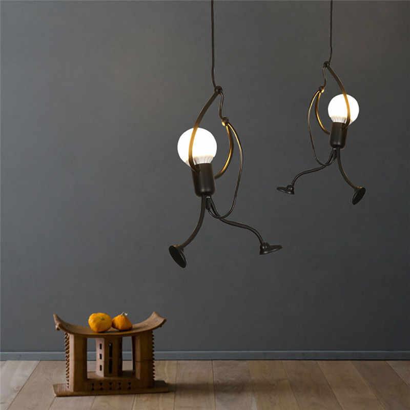 Modern Charming Hanging Chandelier Creative Iron People Lamp Elegant Hanger Luminaire Adjustable Height Iron chandelier