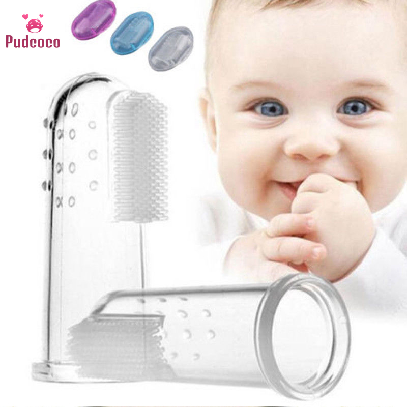 Pudcoco Toddler Kids Infant Baby Girl Boy Soft Teethers Silicone Finger Toothbrush Teether Brush Toys Rubber Massager