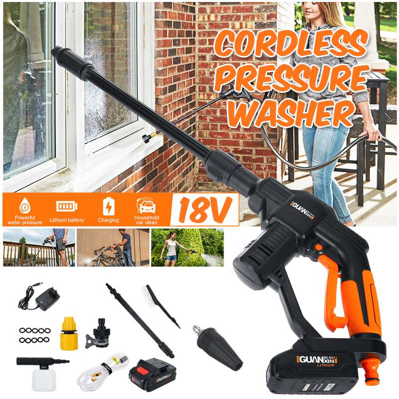Efficient Car Washer+Turbine Nozzle Cordless High Pressure Electric Water Guns Foam Lance Lithium Battery Chargable Clean Tool