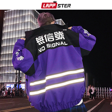 Lappster jaquetas refletivos para homens, streetwear, corta vento, harajuku, patchwork, jaquetas hip hop, vintage, blusão de carga, 2020