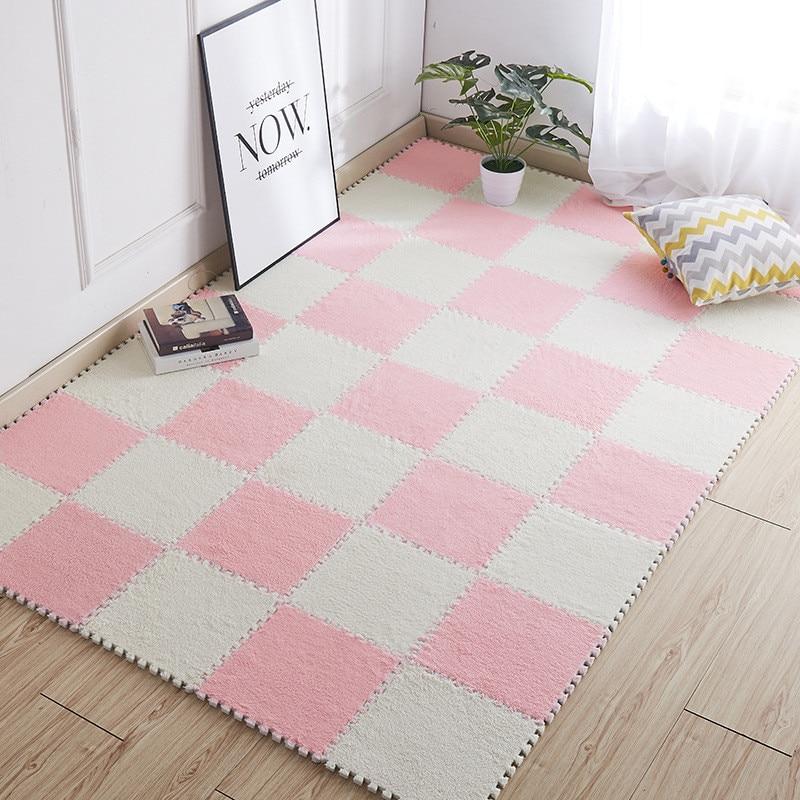 Soft Velveteen Plush Carpet Shaggy Play Area Rug Floor DIY Mat Home Bedroom